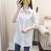 2019春季中长款白色雪纺衬衫女长袖可挽袖简约寸衣范