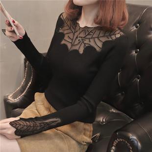 春秋女装性感蕾丝套头打底衫毛衣针织衫长袖黑色上衣