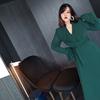 大樊樊大码优雅法式复古长袖连衣裙 胖MM修身荷叶边气质长裙春