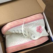 林先参 日系少女小白鞋夏季ins鞋子学生百搭小众设计高帮帆布鞋女