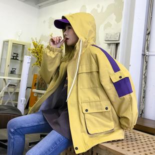 外套女春装2019学生bf原宿宽松拼色嘻哈工装夹克棒球服潮
