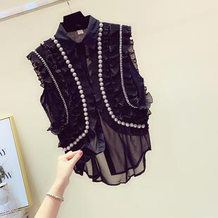 雪纺荷叶边衬衫女2019夏装宽松钉珠镶钻气质无袖上衣衬衣