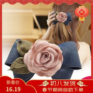 甜美发夹弹簧一字顶夹卡子韩国大蝴蝶结成人淑女布艺优雅头花饰品