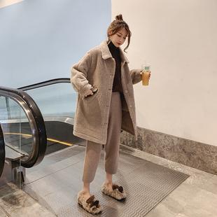 小羊羔毛绒外套女冬2018网红圈圈中长款皮毛一体翻领大衣