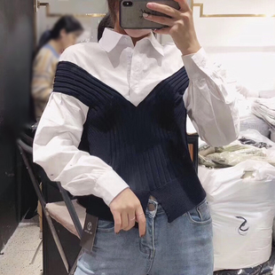 春款女士衬衫毛衣假两件开叉收腰百搭打底衫套头针织衫女上衣