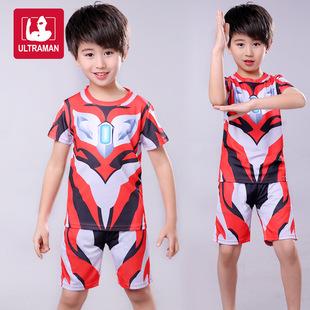 2019夏季儿童捷德奥特曼短袖童装两件套运动服套装速干衣男童