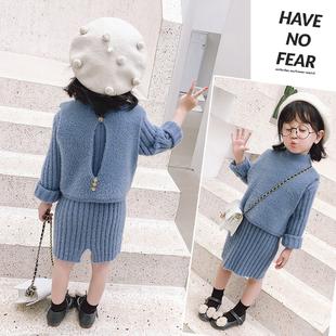 拜年服宝宝女童水貂绒毛衣童装洋气裙子秋冬装儿童连衣裙时髦套装