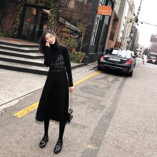 2018秋冬网红女装裙子黑色网纱仙女裙小个子收腰吊带裙连衣裙