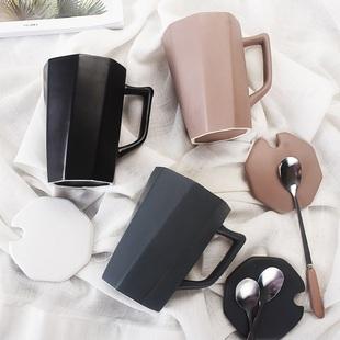 马克杯男女带盖勺陶瓷杯子北欧式小奢华家用水杯简约办公室咖啡杯