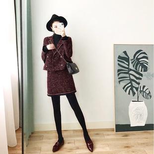 名媛小香风套装女2018秋冬气质时尚网红针织短裙年会礼服两件套