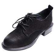 木林森女鞋真皮舒适单鞋女休闲百搭系带软底粗跟小皮鞋BW8340435