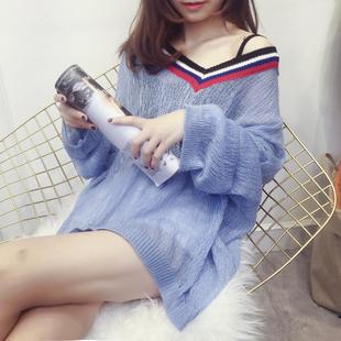 冰丝针织衫女套头罩衫宽松蝙蝠袖学生毛衣套头防晒衣夏季外套