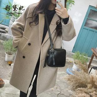 彩黛妃2018秋冬女装毛呢外套显瘦大码中长款呢子大衣