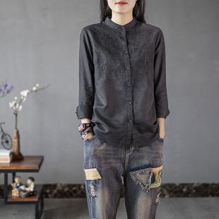 原创文艺复古棉麻衬衣女重工刺绣立领衬衫秋冬季打底衬衫上衣