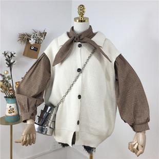 2019春装学院风马甲女针织衫毛衣上衣+复古衬衫女两件套套装