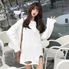 秋冬学生白色长袖T恤破洞薄绒打底衫宽松中长款上衣女潮