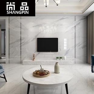 尚品电视背景墙瓷砖新微晶石客厅现代简约爵士白仿大理石纹影视墙