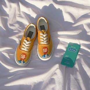 布丁首创 怪味少女板鞋低帮男女情侣鞋ins街拍滑板鞋原宿帆布鞋潮