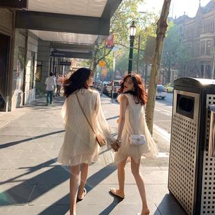 夏2019女闺蜜装很仙的裙子法式仙女裙娃娃领夏季雪纺连衣裙女