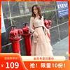 邂逅小妞145cm150矮小个子小码XS春装修身显高蕾丝网纱长裙连衣裙