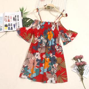 韩国夏季碎花花色度假风系带吊带露肩喇叭袖娃娃款ins超火连衣裙