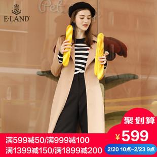 ELAND衣恋女装翻领纯色毛呢子大衣外套女EEJW74T52B