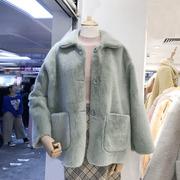羊羔毛外套女2018中长款貂绒皮毛一体上衣秋冬外套厚学生