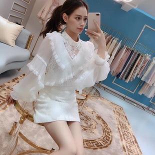 泰国潮牌御裳2018秋冬甜美公主风荷叶花边钉珠流苏蕾丝雪纺衫