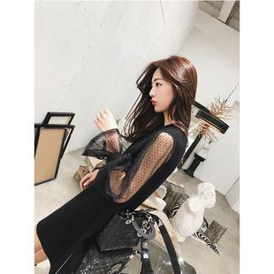 珊珊 网红年会小黑裙子女小个子雪纺拼接袖口花边针织连衣裙