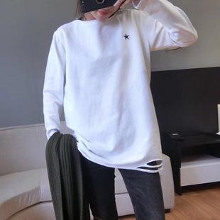 2018秋冬女装中长款加绒破洞白色打底衫长袖T恤内搭上衣