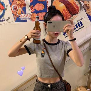 夏季韩国撞色领口字母印花短袖t恤显瘦短款露脐打底衫女学生上衣