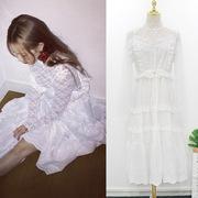 泫雅白色中长款吊带裙蕾丝打底衫V领棉布绣花仙女连衣裙女