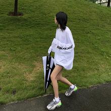 sodu冰丝长袖T恤女字母2019夏季薄款防晒宽松上衣打底空调衫