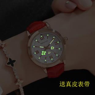 中小学生时尚学生手表女简约女表夜光女士时装皮带表