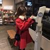 珍珍定制2018冬季毛领红色鱼尾边中长款毛呢外套呢子大衣女潮