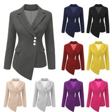 women tops Long-sleeved suit lapel buttons 女士不规侧短西装