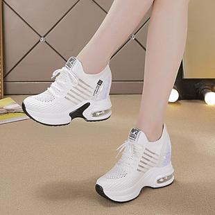 内增高老爹鞋女2020百搭韩版网纱透气休闲厚底显瘦黑色运动鞋