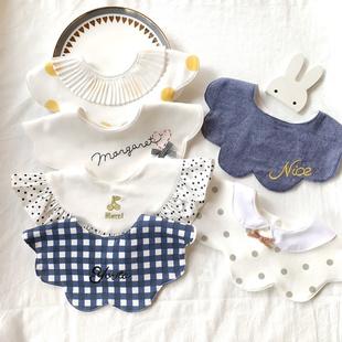宝宝口水巾360度旋转婴儿围嘴日系加大圆形纯棉防吐奶围兜假领子