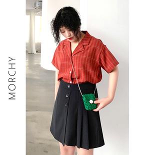 沫西大码红色格子衬衫女宽松韩版很仙的上衣洋气衬衣短袖薄款