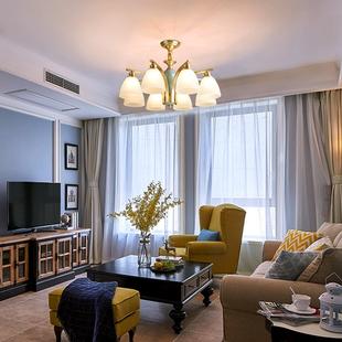 美式陶瓷客厅吊灯全铜乡村餐厅灯创意田园卧室灯现代简约轻奢灯具