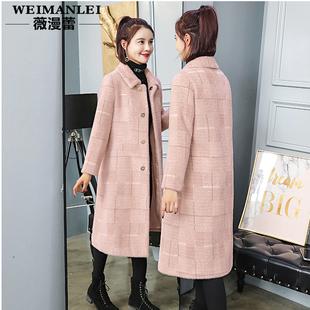 黄金貂绒大衣女冬季中长款2018格子毛呢外套加厚呢子仿水貂绒