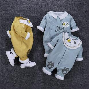 婴儿连体衣秋冬薄棉冬装婴幼儿男宝宝套装夹棉衣服0一1岁加棉保暖