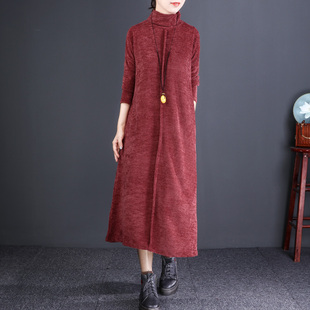 自然小铺 秋冬百搭高领打底裙宽松中长款文艺纯色雪尼尔连衣裙