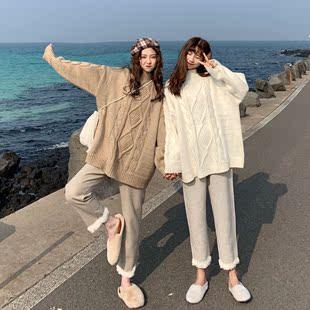 秋冬女装麻花套头小高领长袖毛衣+拼接羊羔毛哈伦裤两件套装
