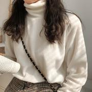 右米秋冬季显瘦白色半高领打底衫女T恤百搭内搭长袖上衣