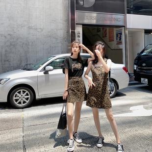 连衣裙女2019夏姐妹装半身裙套装吊带裙豹纹法式复古裙闺蜜装