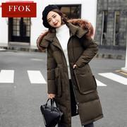 FFOK大毛领羽绒服女士中长款外套加厚2018冬季口袋外套CQ1127