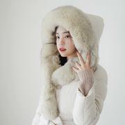 18冬季白鸭绒女士羽绒服长款狐狸毛獭兔毛大毛领外套F12