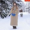 韩国stylenanda 防风领类羊羔绒配色半拉链连衣裙