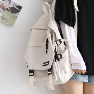 日系ins风纯色双肩包2020年书包中学生初中生韩版背包女双肩